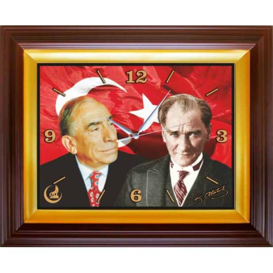 Mhp Dikdörtgen Duvar Saati Alparslan Türkeş ve Atatürk Yanyana Resimli Saat 46x37cm Mhpdsd05tay