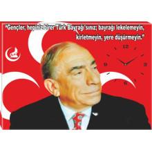 MHP Alparslan Türkeş ve Sözü Resimli Tuval Canvas Tablo Kanvas Duvar Saati MHPDST02ATY