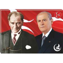 MHP Kanvas Tablo Devlet Bahçeli ve Atatürk Yanyana MHPTR03BAY
