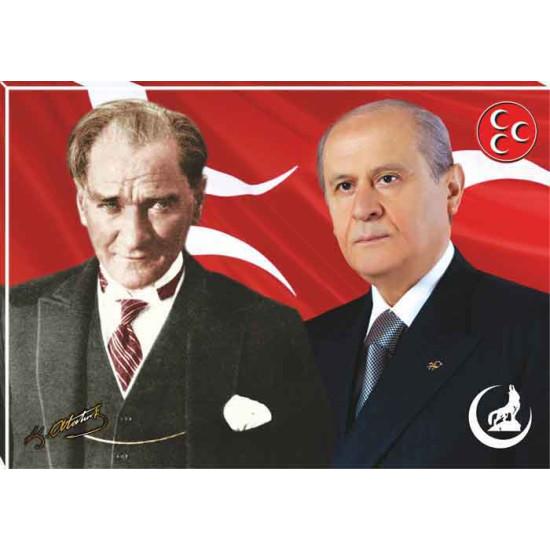 Mhp Kanvas Tablo Devlet Bahçeli ve Atatürk Yanyana Tablosu Mhptr02bay