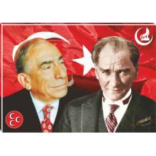 MHP Alparslan Türkeş ve Atatürk Yanyana Tablosu Tuval Canvas Tablo MHPTR04TAY