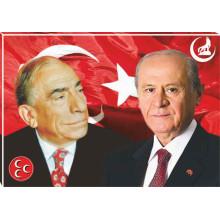 MHP Devlet Bahçeli ve Alparslan Türkeş Yanyana Resmi Tuval Canvas Tablo MHPTR05TBY
