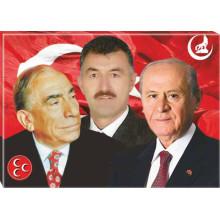 MHP Alparslan Türkeş ve Devlet Bahçeli ve Sen Yanyana Resmi Tuval Canvas Tablo (montajlı) MHPTR08TBM