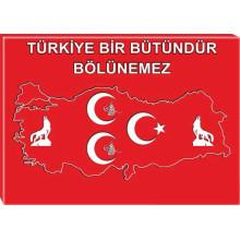 MHP Kanvas Tablo Bozkurt-Tuğra-Yıldızlı ve Türkiye Haritalı Üç Hilal Türkiye Bölünemez MHPTR13UTY