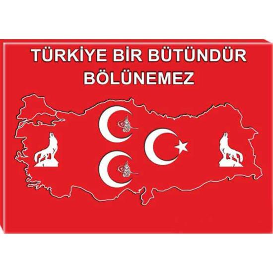 Mhp Kanvas Tablo Bozkurt, Tuğra, Yıldızlı, Türkiye Haritalı Üç Hilal Tablosu ve Türkiye Bölünemez Yazılı Tablo Mhptr13utsy