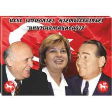 DP Adnan Menderes ve Süleyman Demirel ve Tansu Çiller Yanyana Unutmayacağız Tablosu Kanvas Tablo 45x32-70x50-100x70-150x100cm DPTR02ASTY
