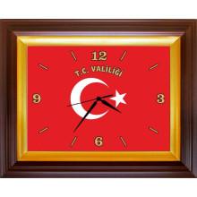 RSK Dikdörtgen Duvar Saati Valilik için T.C. VALİLİĞİ Yazılı Türk Bayrağı Resimli 46x37cm RSKDSD01VLY