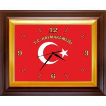 RSK Dikdörtgen Duvar Saati Kaymakamlık İçin T.C. KAYMAKAMLIĞI Yazılı Türk Bayrağı Resimli 46x37cm RSKDSD02KYY