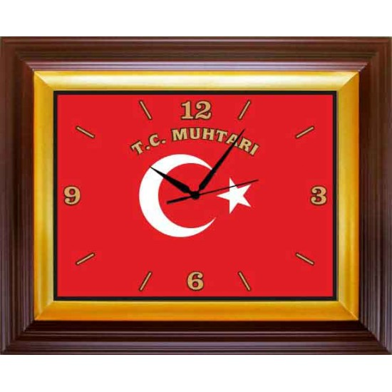 Dikdörtgen Duvar Saati Türk Bayrağı Resimli ve T.C. MUHTARI Yazılı Saat 46x37cm Rskdsd04mhy