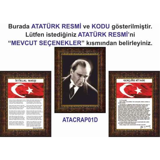 Çerçeveli Resim Atatürk ve İstiklal Marşı ve Gençliğe Hitabe Resmi Üçlü Set Rskcr41r3dy