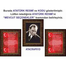RSK Çerçeveli Atatürk ve İstiklal Marşı ve Gençliğe Hitabe Resmi Üçlü Set (3 resim) 32x45 50x70 70x100 100x150 cm RSKCR32R3DY