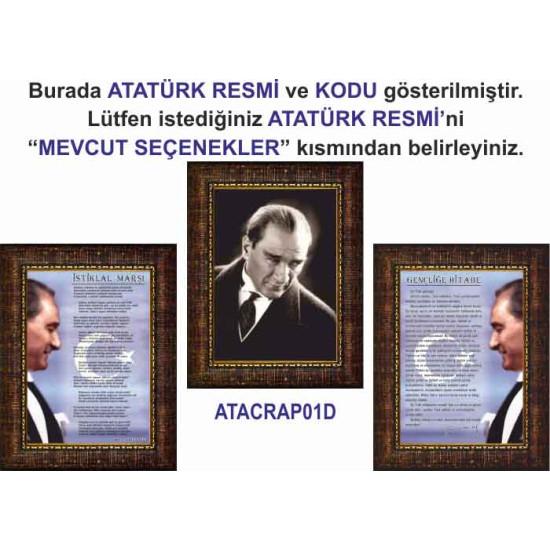 Çerçeveli Resim Atatürk ve İstiklal Marşı ve Gençliğe Hitabe Resmi Üçlü Set Rskcr43r3dy