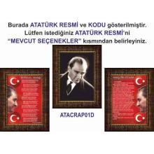 RSK Çerçeveli Atatürk ve İstiklal Marşı ve Gençliğe Hitabe Resmi Üçlü Set (3 resim) 32x45 50x70 70x100 100x150 cm RSKCR34R3DY