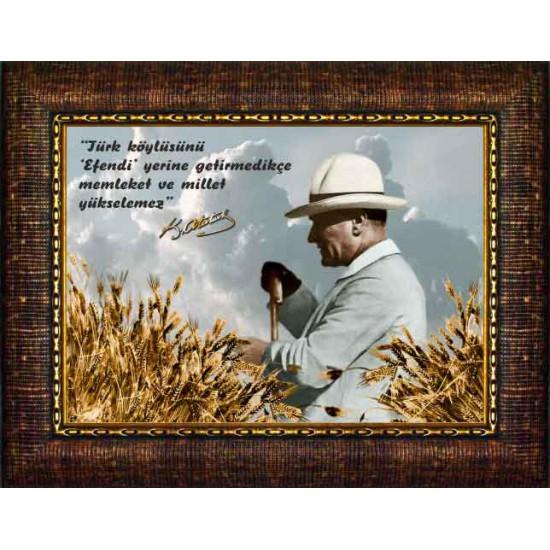 Çerçeveli Resim Atatürk Resmi ve Atatürkün Köylü ile İlgili Sözü Yazılı Resim Rskcrzt66y
