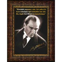 FIS Çerçeveli Ticaret ve Hizmet için Atatürk ve Hizmet Sözü Resmi 32x45 50x70 70x100 100x150 cm FISCR05THD