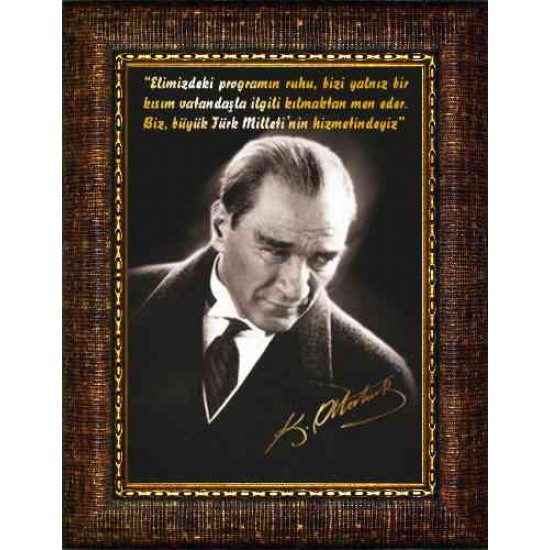 Çerçeveli Resim Atatürk Resmi ve Atatürkün Hizmetle İlgili Sözü Yazılı Resim Fiscrth01d