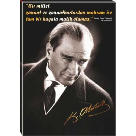 Kanvas Tablo Atatürk Tablosu ve Atatürkün Sanatkarla İlgili Sözü Yazılı Tablo Fistrus01d