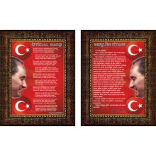 ANI İstiklal Marşı ve Gençliğe Hitabe Resmi Çerçeveli Resim İkili Set (2 resim) ANICR24R2D