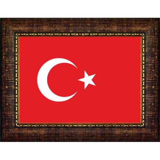 Çerçeveli Resim Türk Bayrağı Resmi Anicr01bry