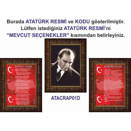 Çerçeveli Resim Atatürk ve İstiklal Marşı ve Gençliğe Hitabe Resmi Üçlü Set Anicr42r3dy