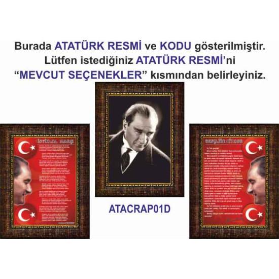Çerçeveli Resim Atatürk ve İstiklal Marşı ve Gençliğe Hitabe Resmi Üçlü Set Anicr44r3dy