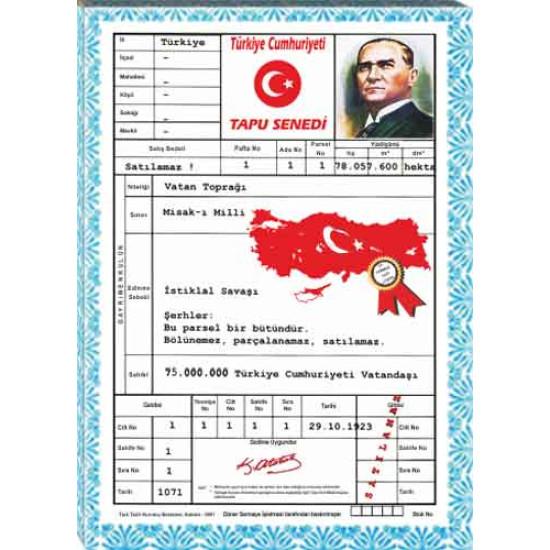 Kanvas Tablo Türkiye Tapusu Tablosu Anitr04ttd