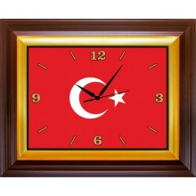 ANI Türk Bayrağı Resimli Dikdörtgen Duvar Saati 46x37cm ANIDSD01BRY