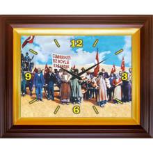 ANI 29 Ekim Cumhuriyeti Biz Böyle Kazandık Resimli Dikdörtgen Duvar Saati 46x37cm ANIDSD05CUY