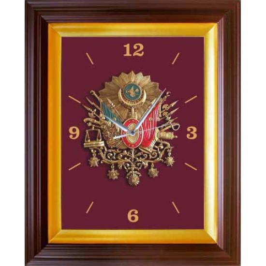 Dikdörtgen Duvar Saati Osmanlı Arması Resimli Saat 37x46cm Anidsd04OAD