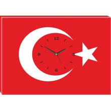 ANI Türk Bayrağı Resimli Kanvas Duvar Saati 45x32-70x50-100x70-150x100cm ANIDST01BRY