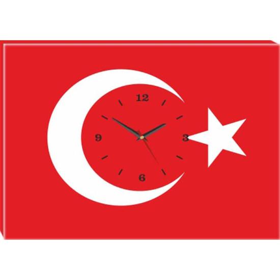 Kanvas Duvar Saati Türk Bayrağı Tablosu Saatli Tablo Anidst01bry