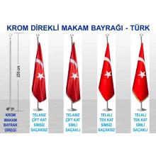 RSK Krom ve Pirinç Direkli Büyük Makam Bayrağı - Türk Bayrağı 230-150x100cm RSKKDB01TR