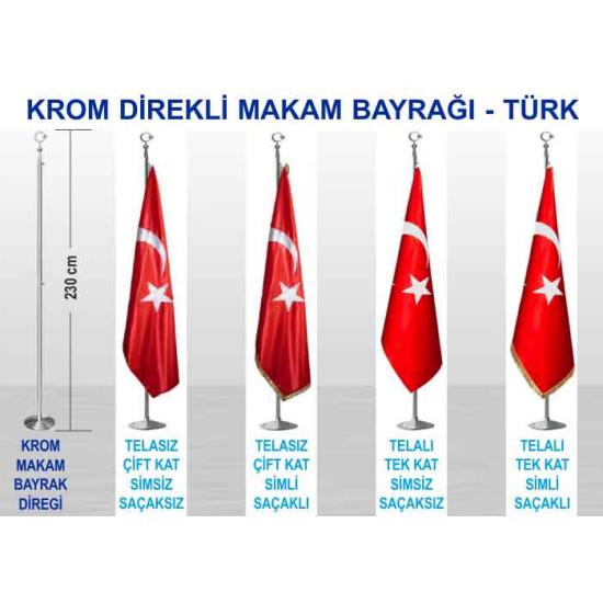 Krom ve Pirinç Direkli Saten Büyük Makam Bayrağı - Türk Bayrağı 230-150x100cm Anikdb01tr