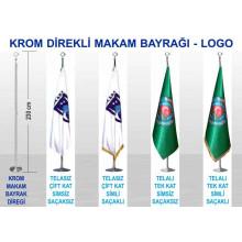 ANI Krom ve Pirinç Direkli Büyük Makam Bayrağı - Logolu Bayrak 230-150x100cm ANIKDB02LG