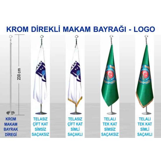 Krom ve Pirinç Direkli Saten Büyük Makam Bayrağı - Logolu Bayrak 230-150x100cm Anikdb02lg